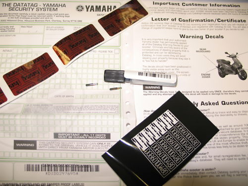 SCOOTER  / MOPED DATATAG SECURITY MARKING KIT FOR YAMAHA, SUZUKI, KAWASAKI, HONDA, ETC.