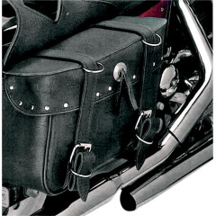 ALL AMERICAN RIDER SADDLEBAG SLANT LARGE BOX RIVET BLACK