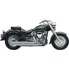 YAMAHA XV1700AS ROAD STAR S, YAMAHA XV1700AW ROAD STAR CAST WHEEL 2008-2014 SLASH DOWN HOT ROD SPEEDSTER EXHAUST CHROME WITH O2 SENSOR BUNGS