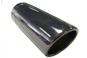 TAIL PIPE 3 inch In Rolled Slash Cut Black Chromed 76mm (3 inch) In Rolled Slash Cut. 190mm Length