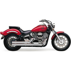 YAMAHA XVS1100 V-STAR CUSTOM, XVS1100 V-STAR CUSTOM MIDNIGHT, XVS1100A V-STAR CLASSIC, XVS1100AT V-STAR SILVERADO 1999-2011 EXHAUST SYSTEM HOT ROD SPEEDSTER SHORT 2 INTO 2 STRAIGHT-CUT TRIPLE-CHROME