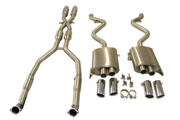 BMW E90/E92/E93 M3 Complete system including 200 cell Sports cats and tails. Replaces Transverse rear silencer for better gas flow and increased power. 304 Grade Stainless and fully TIG welded.