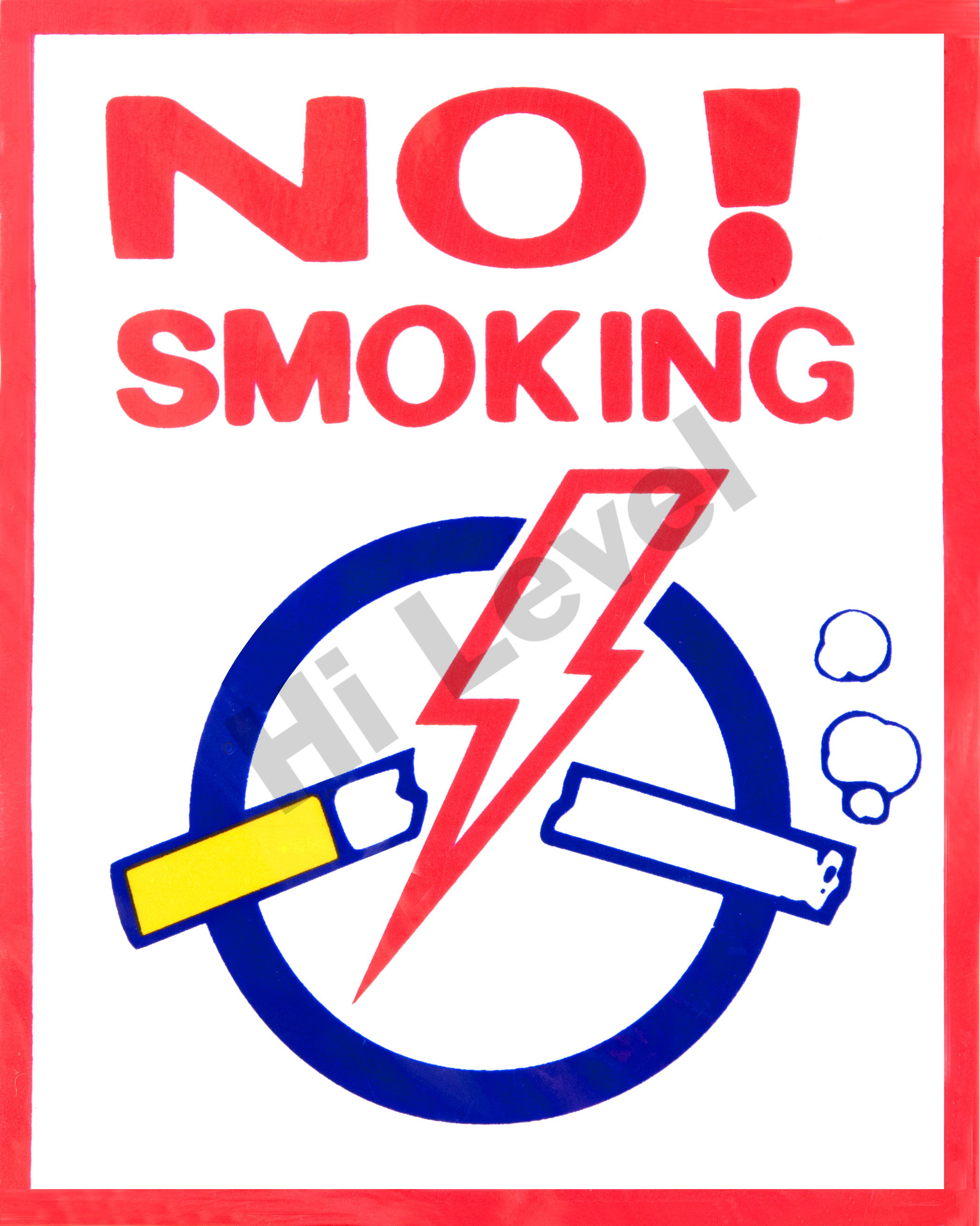 """NO SMOKING"" SIGN STICKER 90MM x 110MM"
