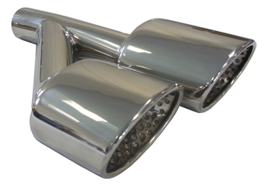 TAIL PIPE L/H AMG Style Tails on a Y-Piece AMG Style Tails on a Y-Piece. 40mm inlet, 400mm length, 217mm total width. Tails 100mm x 78mm