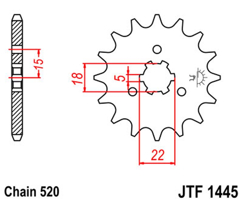 1445-13 FRONT SPROCKET CARBON STEEL