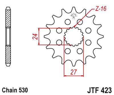 423-17 FRONT SPROCKET CARBON STEEL
