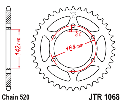 1068-46 REAR SPROCKET CARBON STEEL