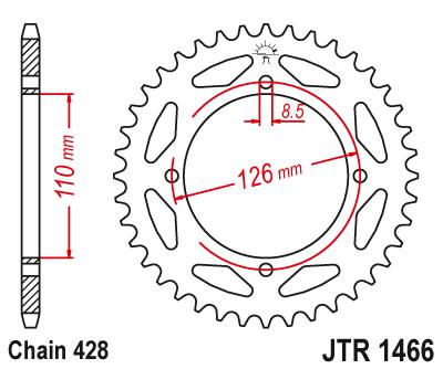 1466-46 REAR SPROCKET CARBON STEEL