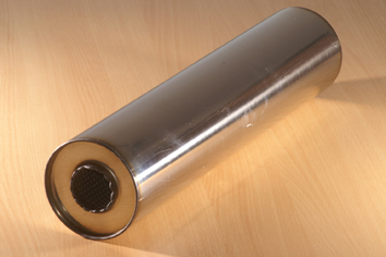 "EXHAUST SILENCER Stainless steel 5"" (130mm) Round 16"" (410mm) Long 2"" Bore (Centre In Centre Out)"