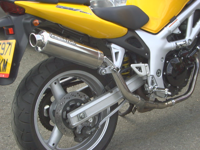 SUZUKI SV650 (99-02) HI-LEVEL SILENCER ROAD INC LINK PIPE IN BRUSHED STAINLESS WITH R/BAFFLE