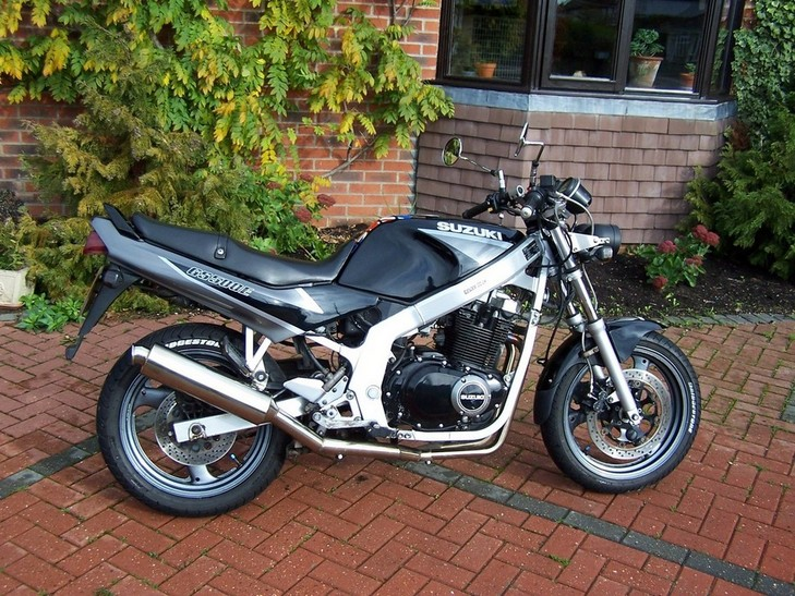 SUZUKI GS500, GS500E, TWIN, 2-1 SYSTEM ROAD IN BRUSHED STAINLESS