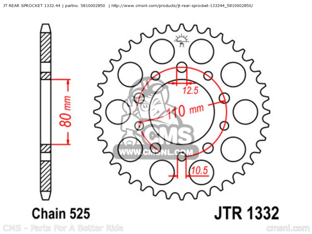 1332-45 REAR SPROCKET CARBON STEEL