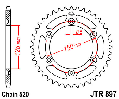897-48 REAR SPROCKET CARBON STEEL