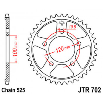 702-42 REAR SPROCKET CARBON STEEL