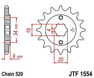 1554-14 FRONT SPROCKET CARBON STEEL
