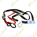 TIE DOWNS 25MM WIDE WITH HOOK & SNAP HOOK - RED/BLACK (PAIR)