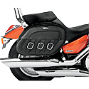 KAWASAKI VN1500 VULCAN CLASSIC, VN1500 VULCAN CLASSIC TOURER, VN1500FI VULCAN CLASSIC 1998-2008 SADDLEBAG SPECIFIC FIT SYNTHETIC LEATHER PLAIN BLACK