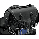 ALL AMERICAN RIDER RACK BAG TRAVELLER EXTRA LARGE RIVET CONCHOS FRINGES BLACK