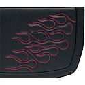 SADDLEMEN SADDLEBAG 3D EMBROIDERED FLAME DESIGN UNIVERSAL SYNTHETIC LEATHER BLACK/ DARK RED - MEDIUM