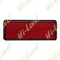 STICK-ON REFLECTOR RED RECTANGLE BLACK RIM 85MM x 30MM
