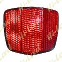 BOLT-ON REFLECTOR RED OBLONG BLACK RIM 69MM x 60MM