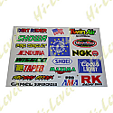 ASSORTED STICKERS LARGE WISECO, COORS, RK, SMITH, SHOWA, MICHELIN