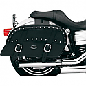 SADDLEMEN SADDLEBAG UNIVERSAL THROW-OVER SLANT STUDDED BLACK CHROME