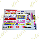 ASSORTED STICKERS SMALL MOTUL, RENTHAL, SILKOLENE, BELL, SMITH