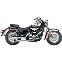 "KAWASAKI VN1500 VULCAN CLASSIC, VN1500 VULCAN MEAN STREAK, VN1500FI VULCAN CLASSIC, VN1600 VULCAN MEAN STREAK 1996-2008 EXHAUST SYSTEM 2"" DRAG PIPE SLASH CUT CHROME2 INTO 2 CLASSIC DELUXE STAGGERED DUAL SLASH CUT SYSTEM CHROME"