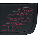 SADDLEMEN SADDLEBAG 3D EMBROIDERED FLAME DESIGN UNIVERSAL SYNTHETIC LEATHER BLACK/ DARK RED - LARGE