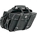 ALL AMERICAN RIDER SADDLEBAG SLANT BOX DETACHABLE TRIPLE LARGE RIVET CONCHOS BLACK