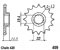 409-14 FRONT SPROCKET CARBON STEEL