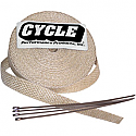 """CYCLE PERFORMANCE WRAP KIT EXHAUST 1"""" X 50' WITH TIE NATURAL/STAINLESS"""