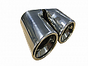 "TAIL PIPE Twin 3"" Inrolled staggered Twin 3"" Inrolled staggered 170mm total width, 140mm long, 56mm inlet"