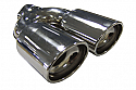 "TAIL PIPE Twin 3""x2.5"" Oval Tailpipe Twin 80mm x 70mm In rolled Oval with perf inserts. 57mm inlet. Length 225mm. Total width 180mm"