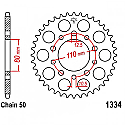 1334-43 REAR SPROCKET CARBON STEEL