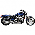 HONDA VT750C SHADOW AERO 2004-2007 EXHAUST SYSTEM 2 INTO 2 CLASSIC DELUXE STAGGERED DUAL SLASH CUT CHROME
