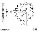 253-15 FRONT SPROCKET CARBON STEEL