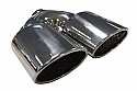 "TAIL PIPE Twin AMG Style Oval Tails Twin 101mm x 76mm (4"" x 3"") Slash Cut ovals on a Y. 51mm inlet. 210mm Length. 215mm Total width"