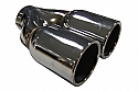 "TAIL PIPE Twin 3"" In Rolled Tail Twin 76mm In Rolled (3 inch) on a Y. 63mm inlet. 200mm Length. 155mm Total width"