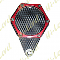 TAX, SERVICE, MOT REMINDER HEXAGON CARBON LOOK & RED 6 STUDS