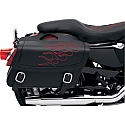 SADDLEMEN SADDLEBAG 3D EMBROIDERED FLAME DESIGN UNIVERSAL SYNTHETIC LEATHER BLACK/ RED - MEDIUM