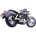HONDA VT1100C2 SHADOW SABRE 2001-2007 2 INTO 2 CLASSIC DELUXE STAGGERED DUAL SLASH CUT SYSTEM CHROME