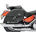 KAWASAKI VN1500 VULCAN CLASSIC, VN1500 VULCAN CLASSIC TOURER, VN1500FI VULCAN CLASSIC 1998-2008 SADDLEBAG SPECIFIC FIT RIGID MOUNT SYNTHETIC LEATHER TEARDROP BLACK