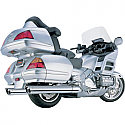 HONDA GL1800 GOLDWING, GL1800 GOLDWING AUDIO COMFORT, GL1800 ABS GOLDWING, GL1800 ABS GOLDWING AIRBAG 2010-2017 COBRA LONG SLIP ON MUFFLERS WITH SCALLOPED TIPS CHROME