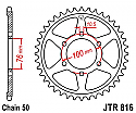 816-44 REAR SPROCKET CARBON STEEL