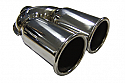 "TAIL PIPE Twin 3"" Out Rolled Twin 76mm (3 inch) Out Rolled on a Y. 51mm inlet. 230mm Length. 180mm Total Width"