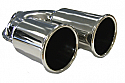 """TAIL PIPE Twin 3"""" Out Rolled Staggered Twin 75mm (3 inch) Out Rolled Staggered on a Y. 51mm inlet. 225mm Length. 170mm Total width"""