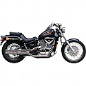 HONDA VT600C SHADOW, HONDA VT600CD SHADOW DELUXE 1988-2007 EXHAUST SYSTEM 2 INTO 2 SHOTGUN FATTIES STRAIGHT CUT TIP CHROME