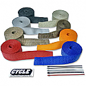 """CYCLE PERFORMANCE WRAP KIT EXHAUST 2"""" X 25' WITH TIE SILVER/STAINLESS"""